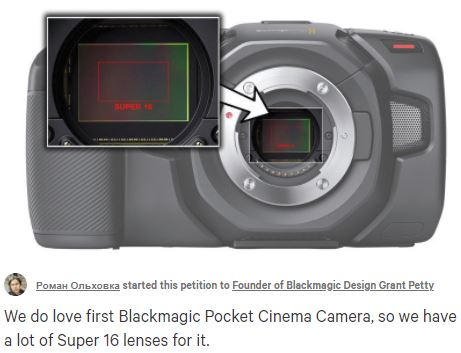 Blackmagic PCC4k Petition