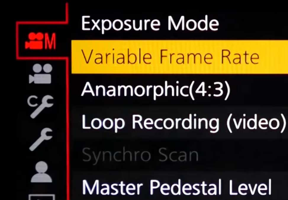 Lumix GH5 VFR Mode Menu