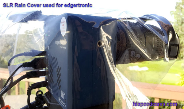Rain cover for SLR Used for edgertronic camera with long lens. Cheap weather solution!